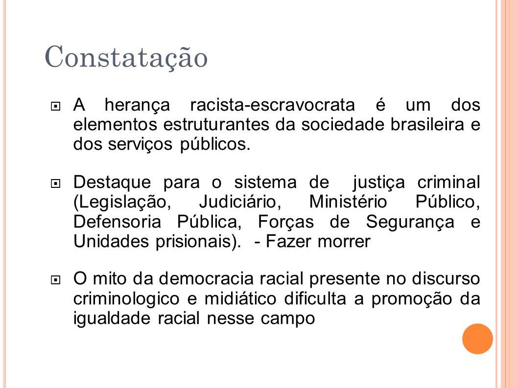 Constatação  A herança racista-escravocrata é um dos elementos estruturantes da sociedade brasileira e dos serviços públicos.  Destaque para o siste