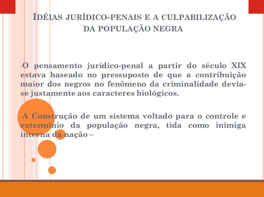 I DÉIAS JURÍDICO - PENAIS E A CULPABILIZAÇÃO DA POPULAÇÃO NEGRA O pensamento jurídico-penal a partir do século XIX estava baseado no pressuposto de qu