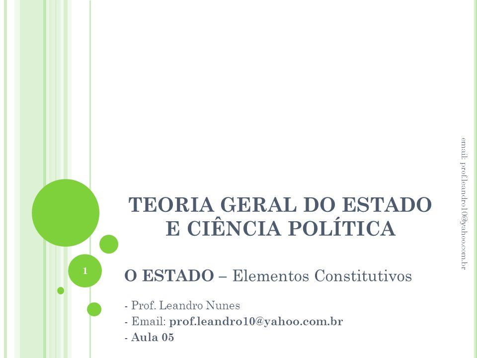 TEORIA GERAL DO ESTADO E CIÊNCIA POLÍTICA O ESTADO – Elementos Constitutivos - Prof. Leandro Nunes - Email: prof.leandro10@yahoo.com.br - Aula 05 1 em