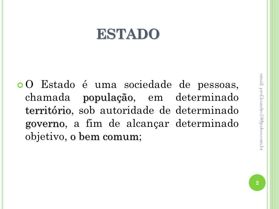 ESTADO população território governo o bem comum O Estado é uma sociedade de pessoas, chamada população, em determinado território, sob autoridade de d