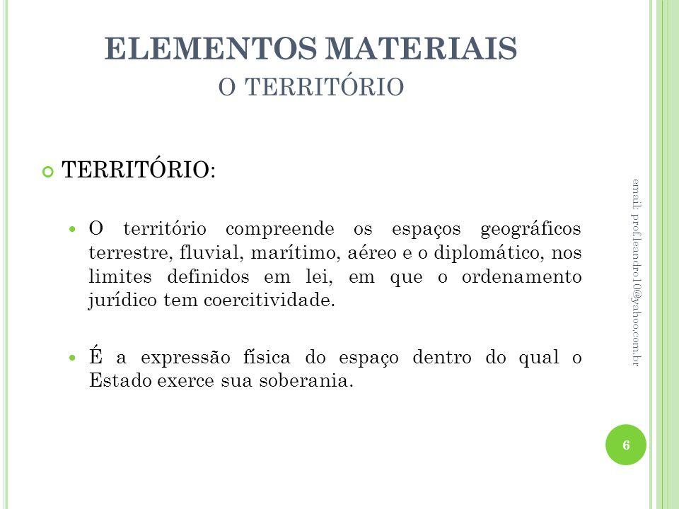 ELEMENTOS MATERIAIS O TERRITÓRIO TERRITÓRIO: O território compreende os espaços geográficos terrestre, fluvial, marítimo, aéreo e o diplomático, nos l
