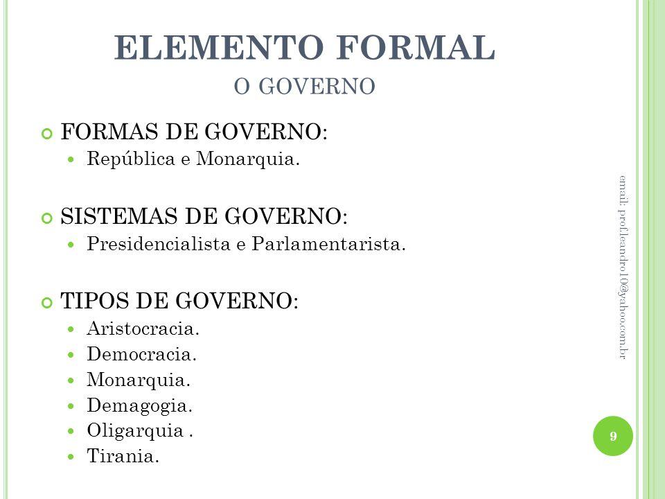 ELEMENTO FORMAL O GOVERNO FORMAS DE GOVERNO: República e Monarquia. SISTEMAS DE GOVERNO: Presidencialista e Parlamentarista. TIPOS DE GOVERNO: Aristoc