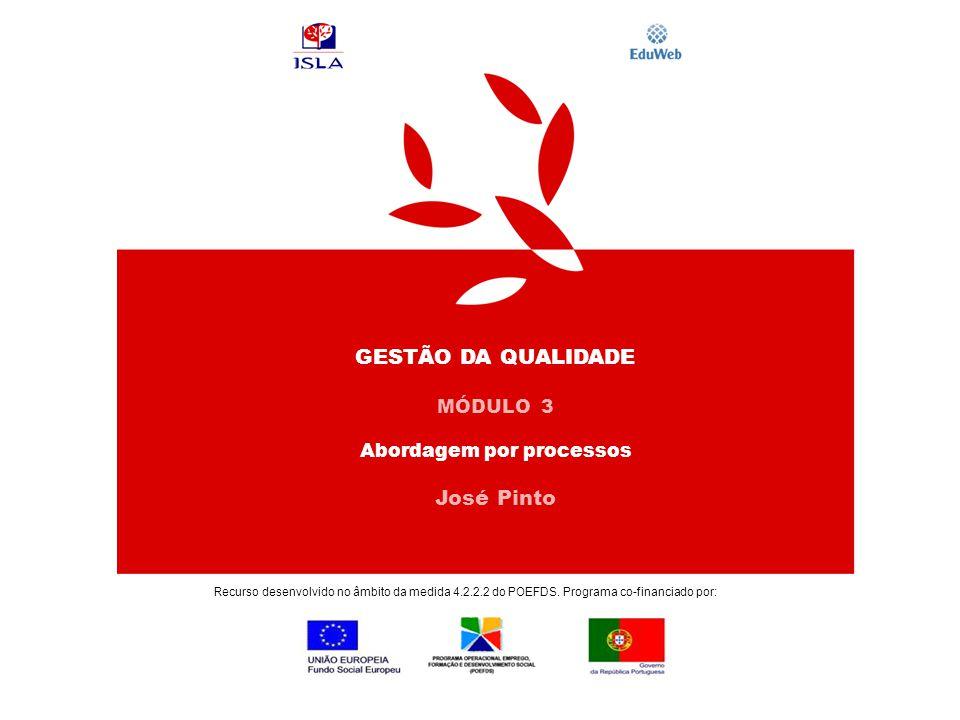 GESTÃO DA QUALIDADE MÓDULO 3 Abordagem por processos José Pinto Recurso desenvolvido no âmbito da medida 4.2.2.2 do POEFDS. Programa co-financiado por