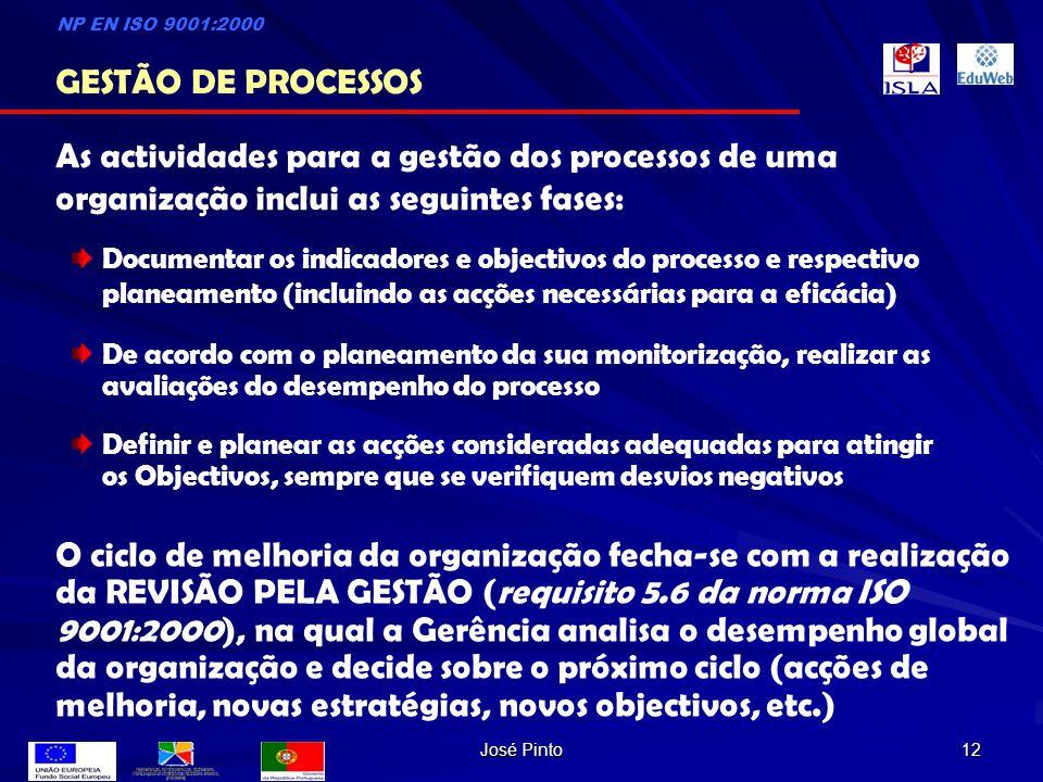 José Pinto 12 As actividades para a gestão dos processos de uma organização inclui as seguintes fases: Documentar os indicadores e objectivos do proce