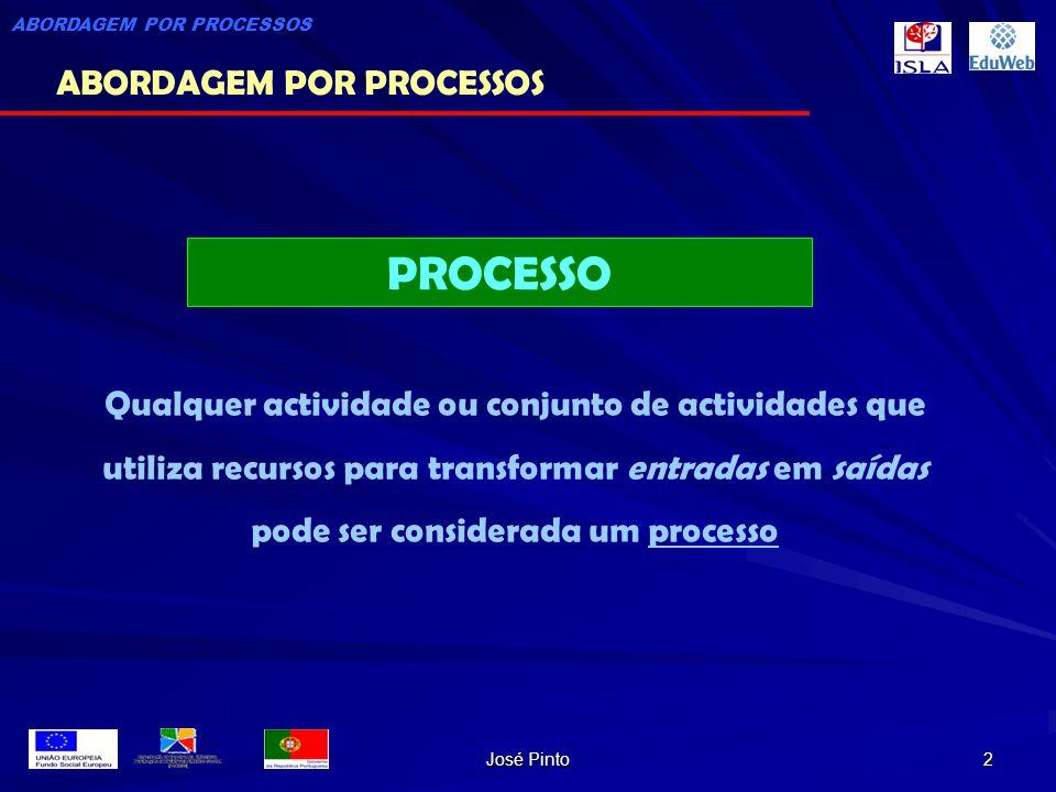 José Pinto 2 PROCESSO Qualquer actividade ou conjunto de actividades que utiliza recursos para transformar entradas em saídas pode ser considerada um