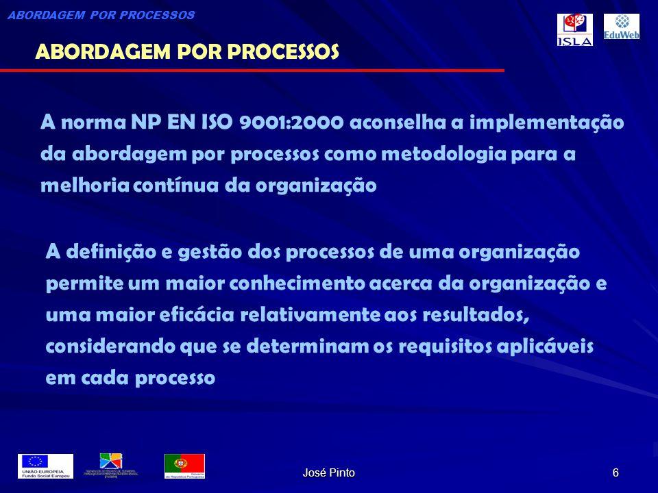 José Pinto 6 A norma NP EN ISO 9001:2000 aconselha a implementação da abordagem por processos como metodologia para a melhoria contínua da organização