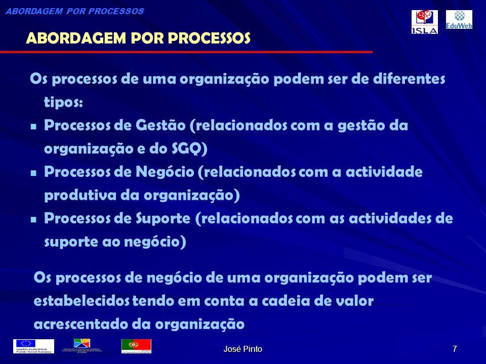 José Pinto 7 Os processos de uma organização podem ser de diferentes tipos: Processos de Gestão (relacionados com a gestão da organização e do SGQ) Pr