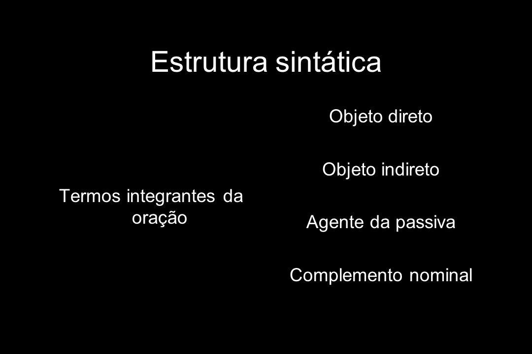 Estrutura sintática Termos integrantes da oração Objeto direto Objeto indireto Agente da passiva Complemento nominal
