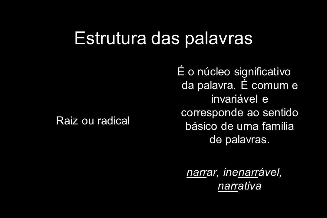 Estrutura das palavras Raiz ou radical É o núcleo significativo da palavra. É comum e invariável e corresponde ao sentido básico de uma família de pal