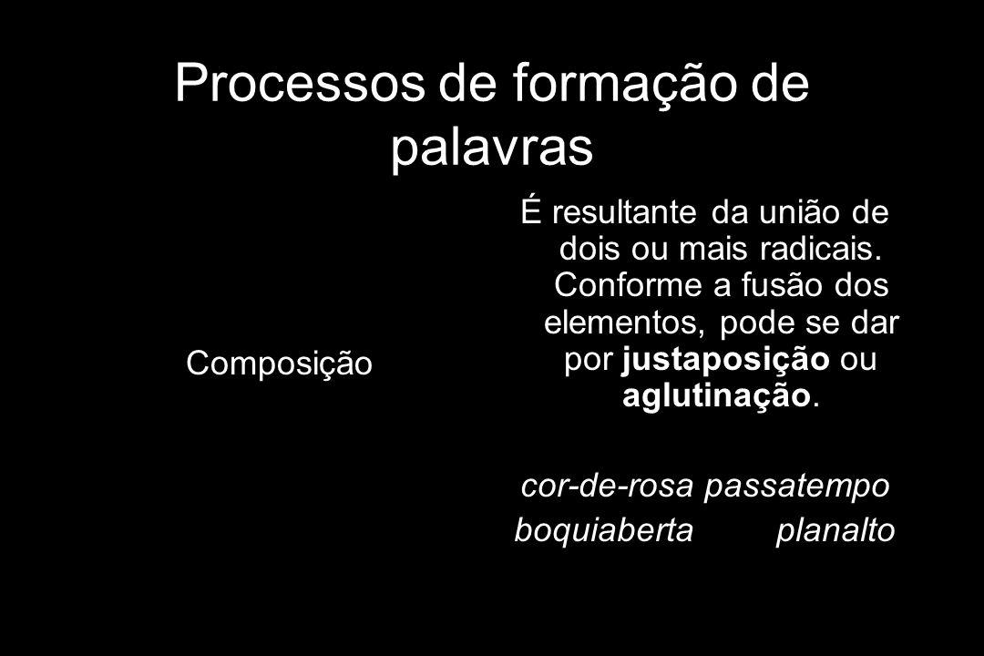Processos de formação de palavras Composição É resultante da união de dois ou mais radicais. Conforme a fusão dos elementos, pode se dar por justaposi