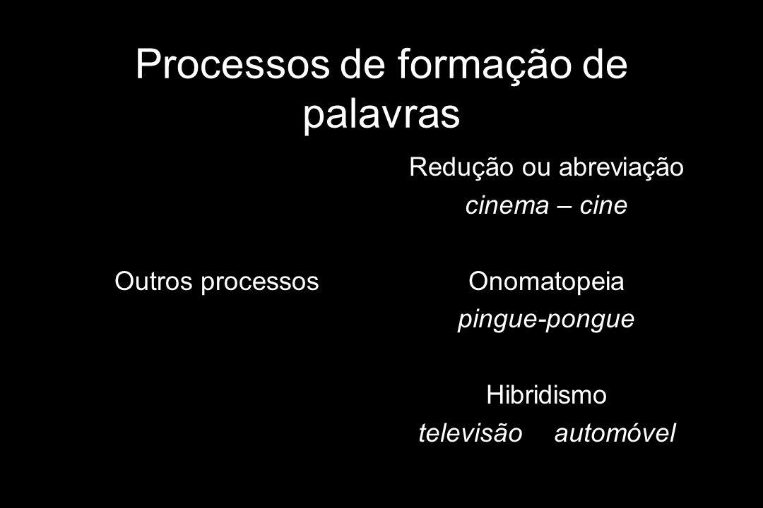 Processos de formação de palavras Outros processos Redução ou abreviação cinema – cine Onomatopeia pingue-pongue Hibridismo televisãoautomóvel