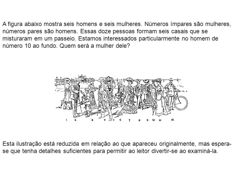 A figura abaixo mostra seis homens e seis mulheres. Números ímpares são mulheres, números pares são homens. Essas doze pessoas formam seis casais que