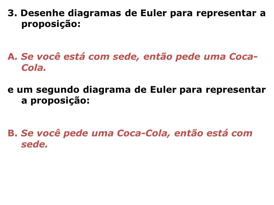 3. Desenhe diagramas de Euler para representar a proposição: A. Se você está com sede, então pede uma Coca- Cola. e um segundo diagrama de Euler para