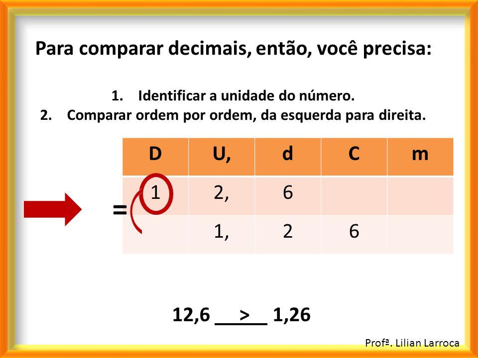 Profª. Lilian Larroca Para comparar decimais, então, você precisa: 1.Identificar a unidade do número. 2.Comparar ordem por ordem, da esquerda para dir