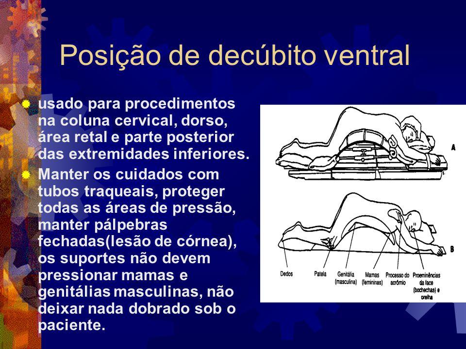 Posição de decúbito ventral  usado para procedimentos na coluna cervical, dorso, área retal e parte posterior das extremidades inferiores.  Manter o