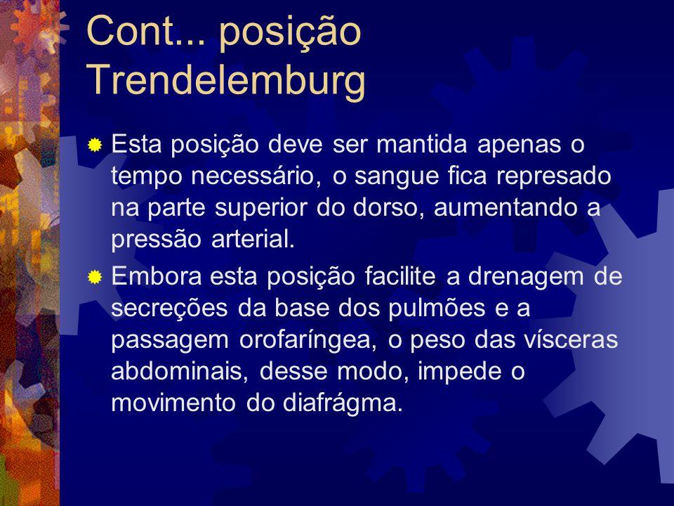 Cont... posição Trendelemburg  Esta posição deve ser mantida apenas o tempo necessário, o sangue fica represado na parte superior do dorso, aumentand