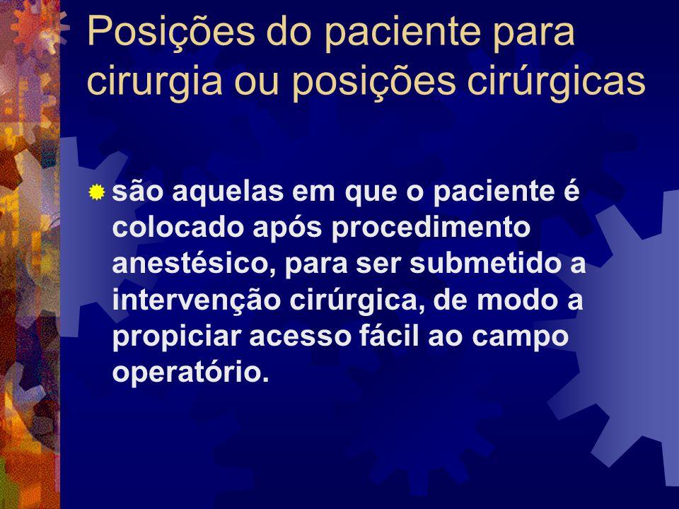 Cuidados na posição do paciente para cirurgia  evitar compressões da pele, vasos e nervos do paciente.