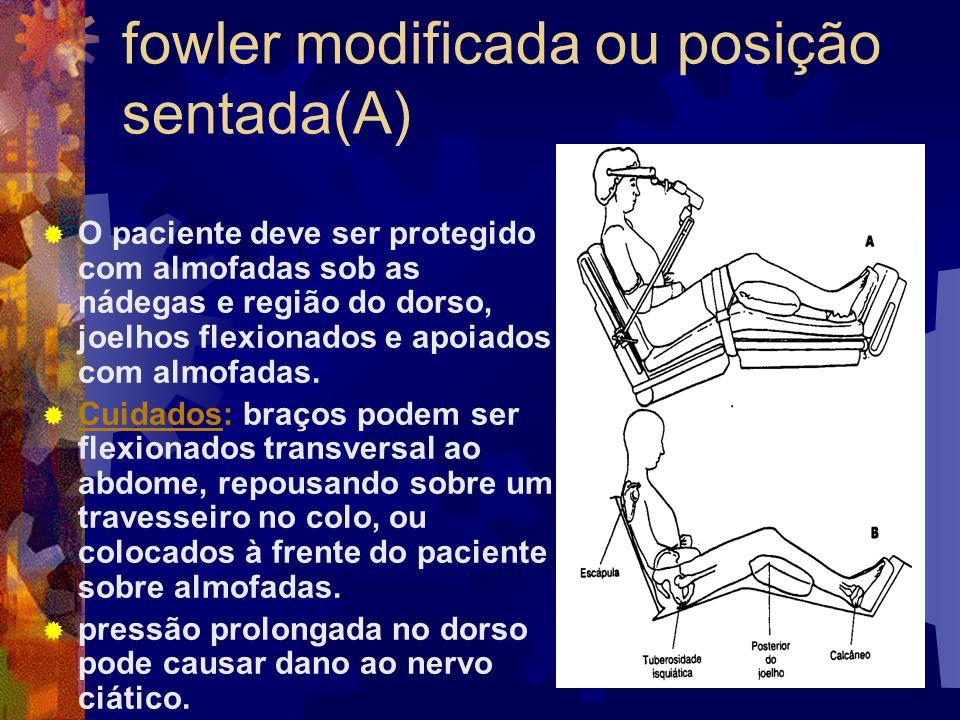 fowler modificada ou posição sentada(A)  O paciente deve ser protegido com almofadas sob as nádegas e região do dorso, joelhos flexionados e apoiados