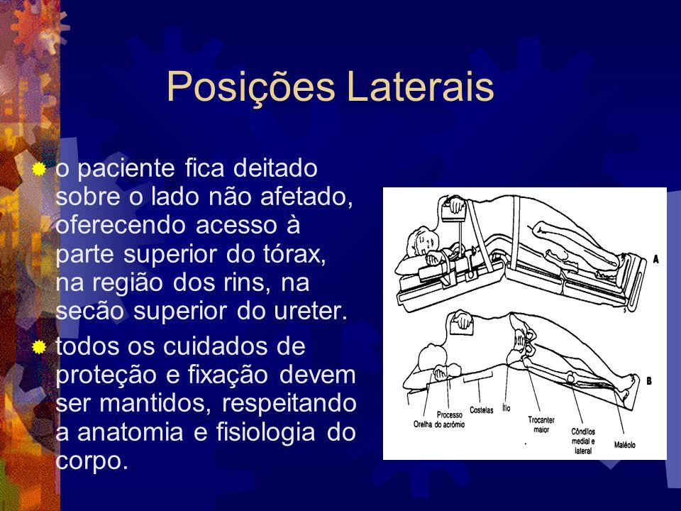 Posições Laterais  o paciente fica deitado sobre o lado não afetado, oferecendo acesso à parte superior do tórax, na região dos rins, na secão superi