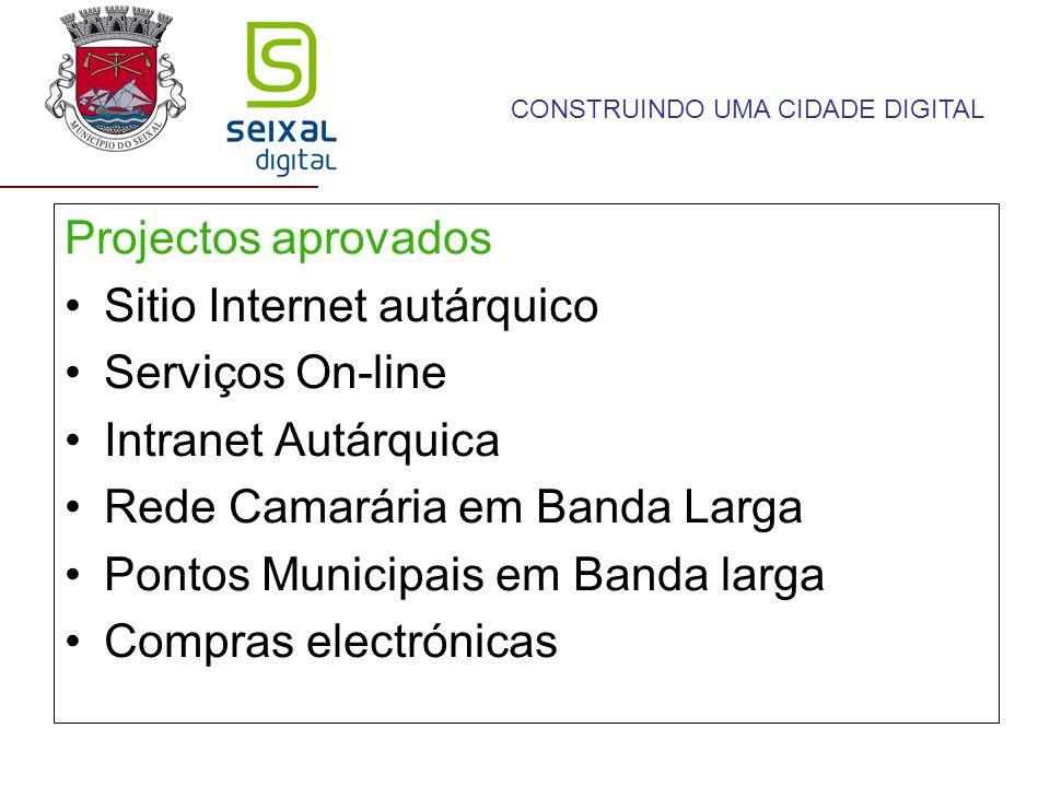 Projectos aprovados Sitio Internet autárquico Serviços On-line Intranet Autárquica Rede Camarária em Banda Larga Pontos Municipais em Banda larga Compras electrónicas CONSTRUINDO UMA CIDADE DIGITAL