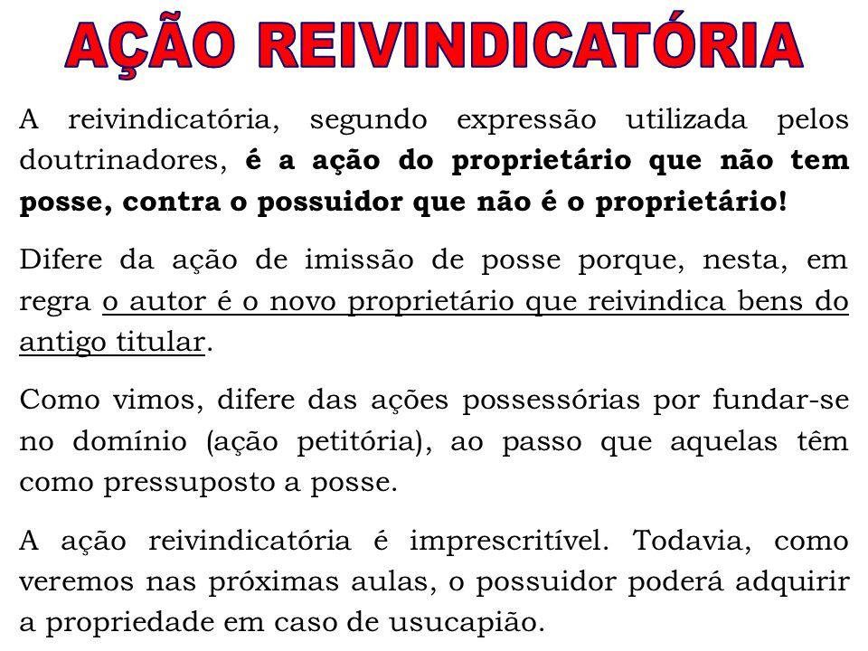 A reivindicatória, segundo expressão utilizada pelos doutrinadores, é a ação do proprietário que não tem posse, contra o possuidor que não é o proprie