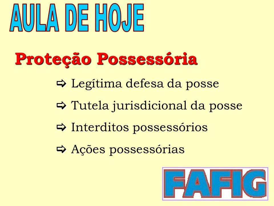 Proteção Possessória  Legítima defesa da posse  Tutela jurisdicional da posse  Interditos possessórios  Ações possessórias