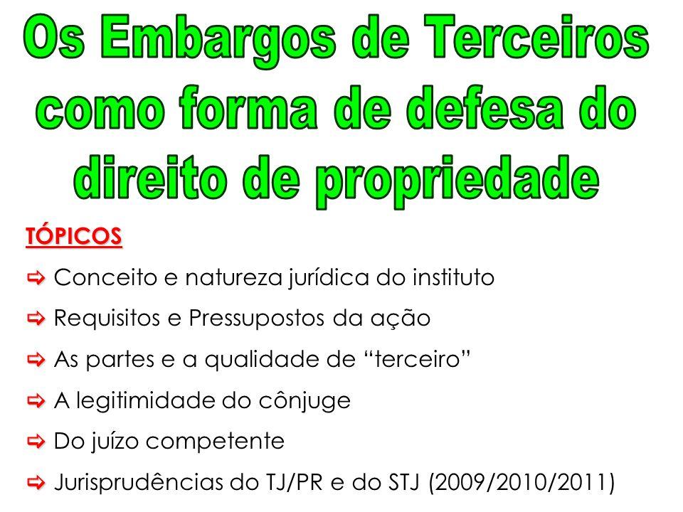 """TÓPICOS  Conceito e natureza jurídica do instituto  Requisitos e Pressupostos da ação  As partes e a qualidade de """"terceiro""""  A legitimidade do cô"""