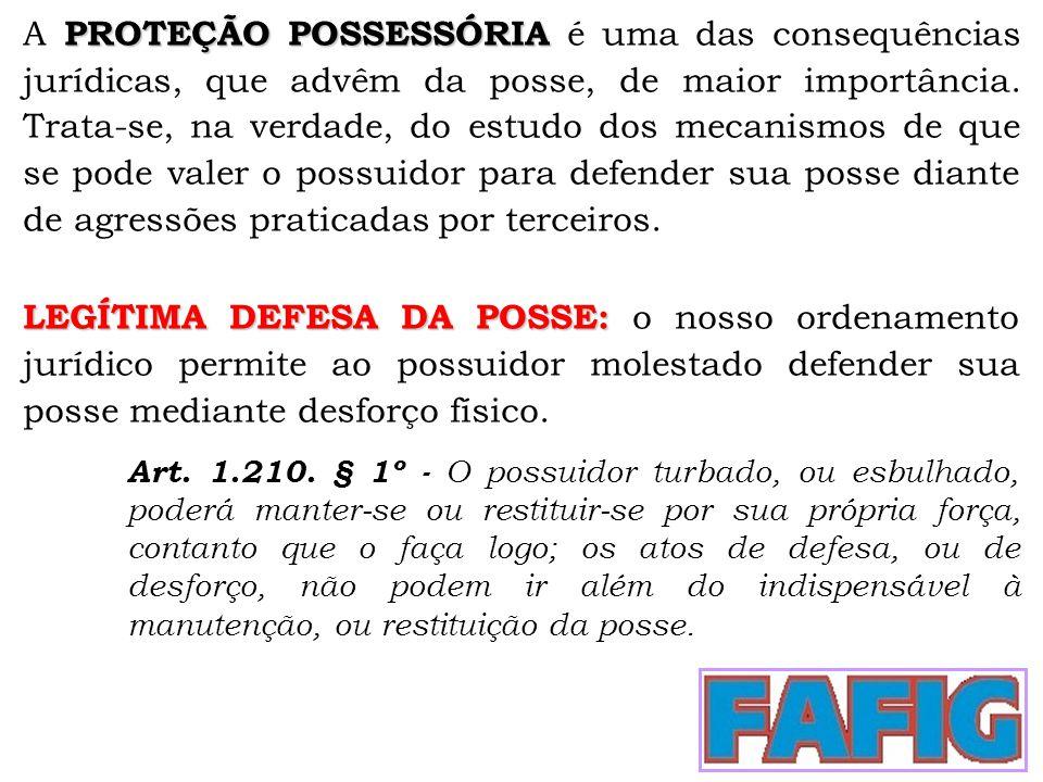 PROTEÇÃO POSSESSÓRIA A PROTEÇÃO POSSESSÓRIA é uma das consequências jurídicas, que advêm da posse, de maior importância. Trata-se, na verdade, do estu