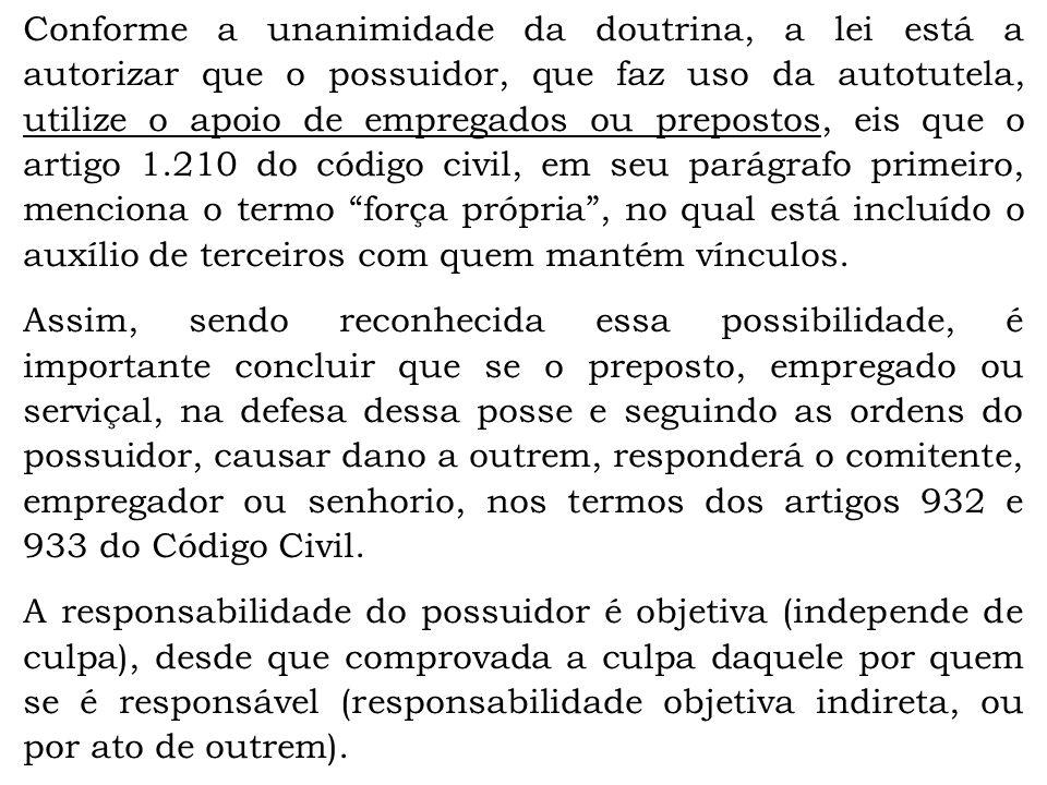 Conforme a unanimidade da doutrina, a lei está a autorizar que o possuidor, que faz uso da autotutela, utilize o apoio de empregados ou prepostos, eis
