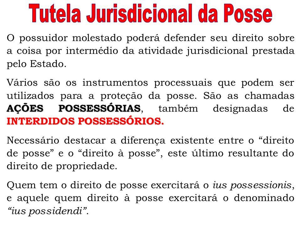 O possuidor molestado poderá defender seu direito sobre a coisa por intermédio da atividade jurisdicional prestada pelo Estado. AÇÕES POSSESSÓRIAS INT