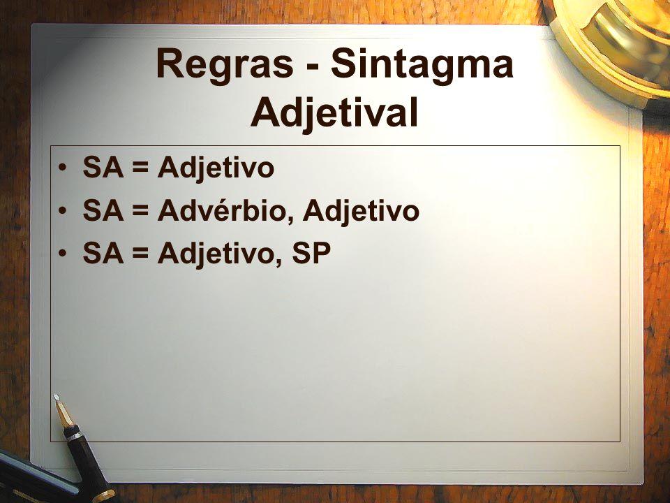 Regras - Sintagma Adjetival SA = Adjetivo SA = Advérbio, Adjetivo SA = Adjetivo, SP