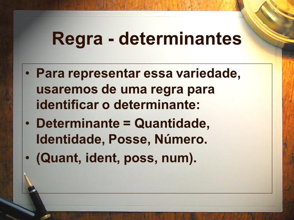 Regra - determinantes Para representar essa variedade, usaremos de uma regra para identificar o determinante: Determinante = Quantidade, Identidade, Posse, Número.