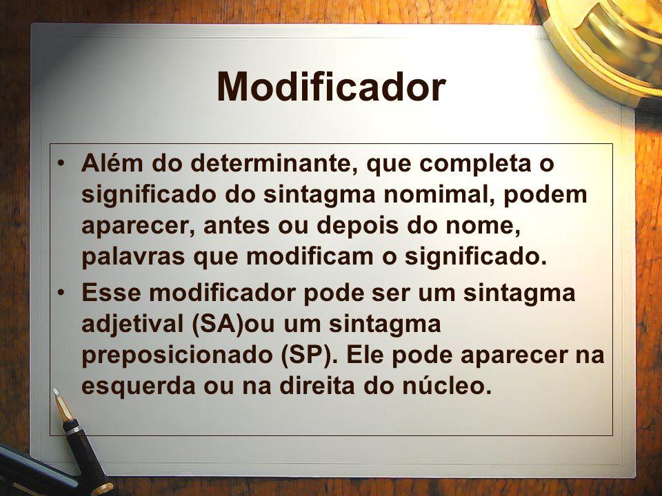 Modificador Além do determinante, que completa o significado do sintagma nomimal, podem aparecer, antes ou depois do nome, palavras que modificam o significado.