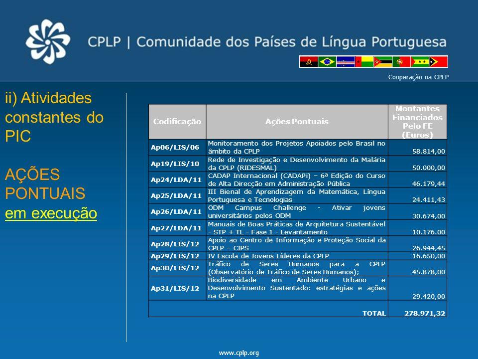 www.cplp.org Cooperação na CPLP ii) Atividades constantes do PIC AÇÕES PONTUAIS em execução CodificaçãoAções Pontuais Montantes Financiados Pelo FE (E