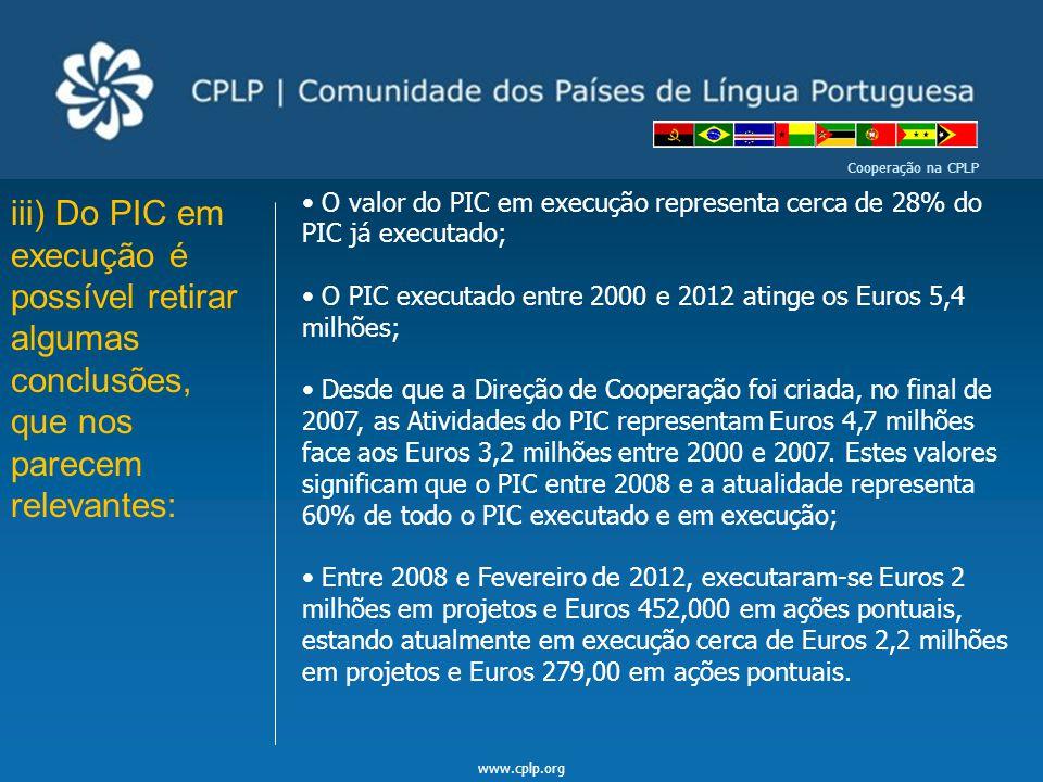 www.cplp.org Cooperação na CPLP iii) Do PIC em execução é possível retirar algumas conclusões, que nos parecem relevantes: O valor do PIC em execução