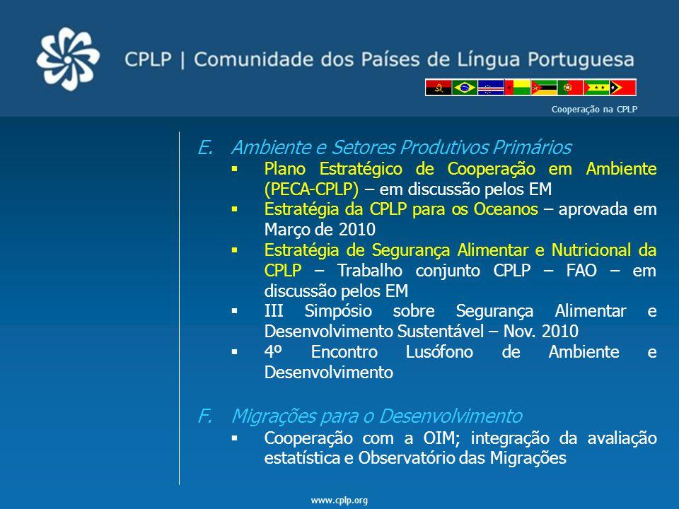 www.cplp.org Cooperação na CPLP E.Ambiente e Setores Produtivos Primários  Plano Estratégico de Cooperação em Ambiente (PECA-CPLP) – em discussão pel