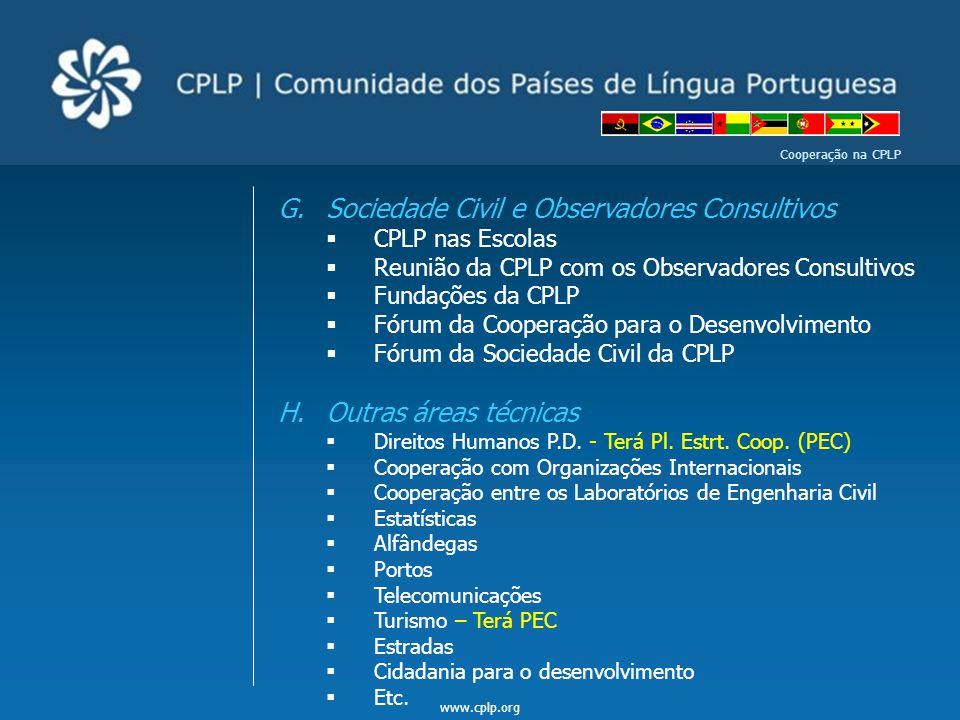 www.cplp.org Cooperação na CPLP G.Sociedade Civil e Observadores Consultivos  CPLP nas Escolas  Reunião da CPLP com os Observadores Consultivos  Fu