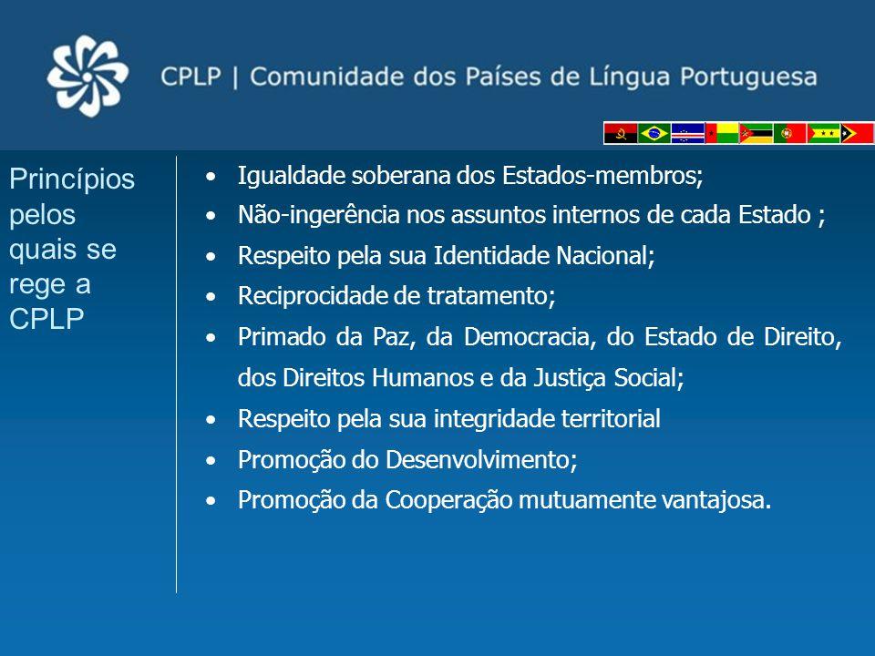 Igualdade soberana dos Estados-membros; Não-ingerência nos assuntos internos de cada Estado ; Respeito pela sua Identidade Nacional; Reciprocidade de