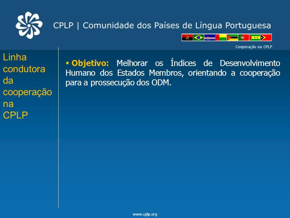 www.cplp.org Cooperação na CPLP i) Documentos Enquadradores da Cooperação na CPLP a) Acordo Geral de Cooperação no âmbito da CPLP (apenas ratificado por Brasil e Portugal); b) Cooperação na CPLP - Uma visão Estratégica de Cooperação pós Bissau , aprovado em Julho de 2009, na XIV Reunião do CM da CPLP; c)Regimento do Fundo Especial da CPLP, aprovado em Julho de 1999 - revisto e novamente aprovado em Julho de 2011, em Luanda – em execução desde Janeiro de 2012;