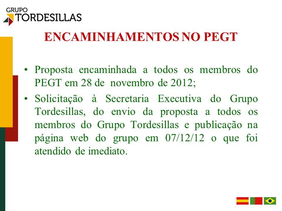 ENCAMINHAMENTOS NO PEGT Proposta encaminhada a todos os membros do PEGT em 28 de novembro de 2012; Solicitação à Secretaria Executiva do Grupo Tordesillas, do envio da proposta a todos os membros do Grupo Tordesillas e publicação na página web do grupo em 07/12/12 o que foi atendido de imediato.