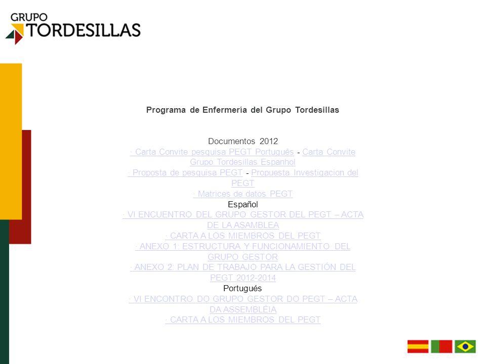 Programa de Enfermería del Grupo Tordesillas Documentos 2012 · Carta Convite pesquisa PEGT Português · Carta Convite pesquisa PEGT Português - Carta Convite Grupo Tordesillas Espanhol Carta Convite Grupo Tordesillas Espanhol · Proposta de pesquisa PEGT · Proposta de pesquisa PEGT - Propuesta Investigacion del PEGT Propuesta Investigacion del PEGT · Matrices de datos PEGT Español · VI ENCUENTRO DEL GRUPO GESTOR DEL PEGT – ACTA DE LA ASAMBLEA · CARTA A LOS MIEMBROS DEL PEGT · ANEXO 1: ESTRUCTURA Y FUNCIONAMIENTO DEL GRUPO GESTOR · ANEXO 2: PLAN DE TRABAJO PARA LA GESTIÓN DEL PEGT 2012-2014 Portugués · VI ENCONTRO DO GRUPO GESTOR DO PEGT – ACTA DA ASSEMBLÉIA · CARTA A LOS MIEMBROS DEL PEGT