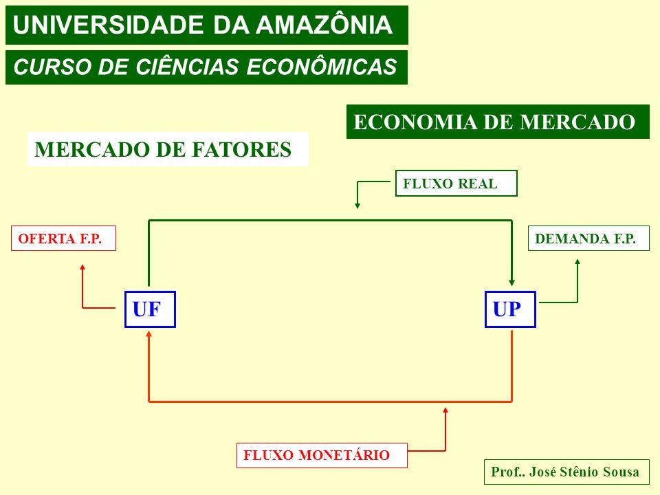 UNIVERSIDADE DA AMAZÔNIA CURSO DE CIÊNCIAS ECONÔMICAS Prof.. José Stênio Sousa ECONOMIA DE MERCADO MERCADO DE FATORES UFUP OFERTA DOS FATORES DE PRODU