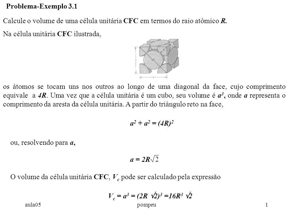aula05pompeu1 Calcule o volume de uma célula unitária CFC em termos do raio atômico R. Na célula unitária CFC ilustrada, Problema-Exemplo 3.1 os átomo