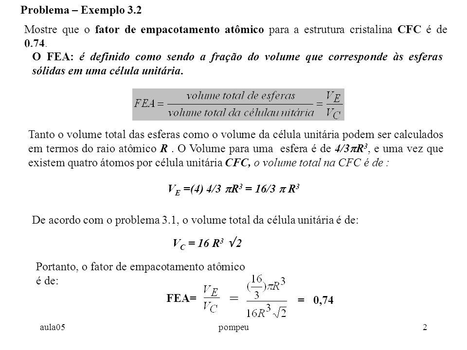 aula05pompeu2 Problema – Exemplo 3.2 Mostre que o fator de empacotamento atômico para a estrutura cristalina CFC é de 0,74.