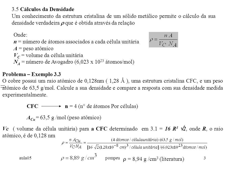 aula05pompeu3 3.5 Cálculos da Densidade Um conhecimento da estrutura cristalina de um sólido metálico permite o cálculo da sua densidade verdadeira  que é obtida através da relação Onde: n = número de átomos associados a cada célula unitária A = peso atômico V C = volume da célula unitária N A = número de Avogadro (6,023 x 10 23 átomos/mol) Problema – Exemplo 3.3 O cobre possui um raio atômico de 0,128nm ( 1,28 Å ), uma estrutura cristalina CFC, e um peso atômico de 63,5 g/mol.