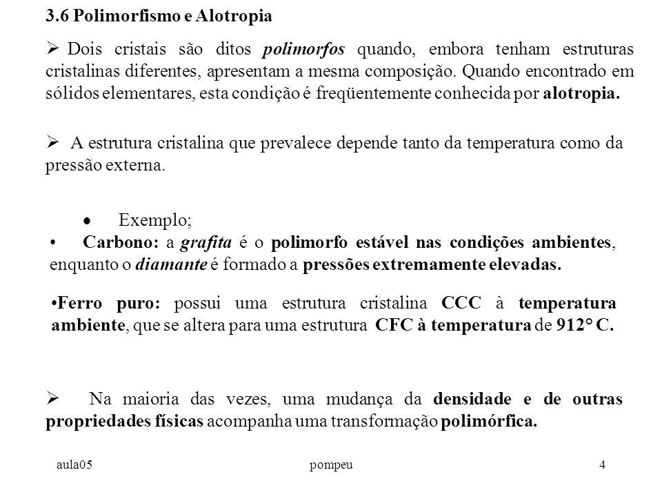 aula05pompeu4 3.6 Polimorfismo e Alotropia  Dois cristais são ditos polimorfos quando, embora tenham estruturas cristalinas diferentes, apresentam a