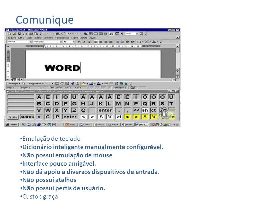 Microfênix Emulação de mouse e teclado Não possui Dicionário inteligente.
