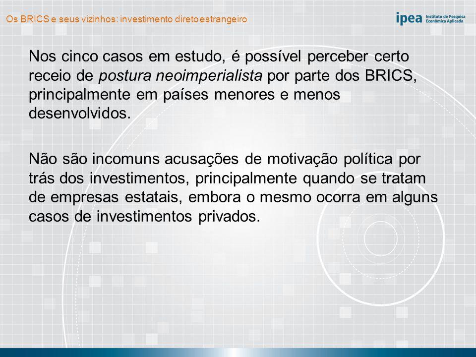 Os BRICS e seus vizinhos: investimento direto estrangeiro Nos cinco casos em estudo, é possível perceber certo receio de postura neoimperialista por parte dos BRICS, principalmente em países menores e menos desenvolvidos.