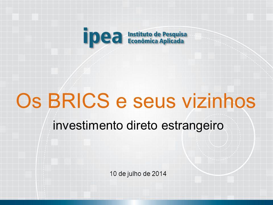 Os BRICS e seus vizinhos Investimento direto estrangeiro OBRIGADO! andre.pineli@ipea.gov.br