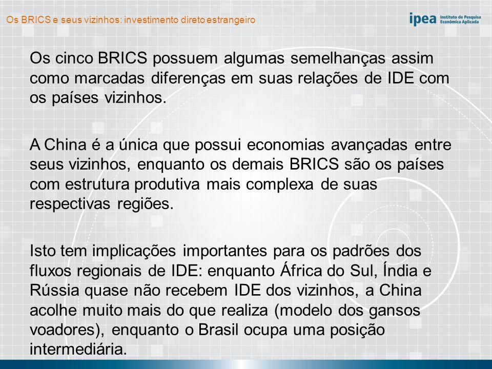 Os BRICS e seus vizinhos: investimento direto estrangeiro Os cinco BRICS possuem algumas semelhanças assim como marcadas diferenças em suas relações d
